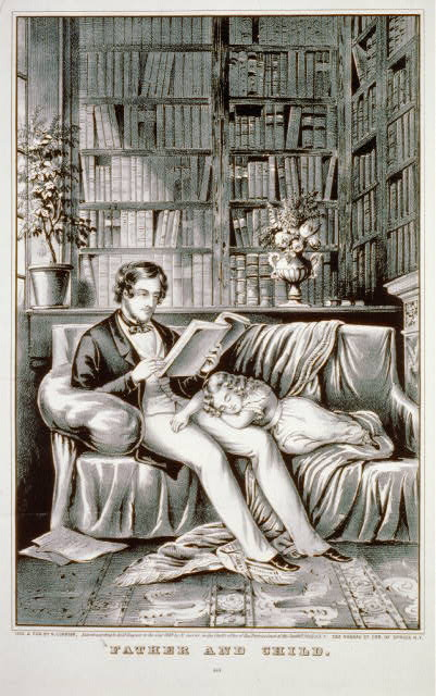 Father and child lithograph New York Published by N. Currier, c1849. (Library of Congress)