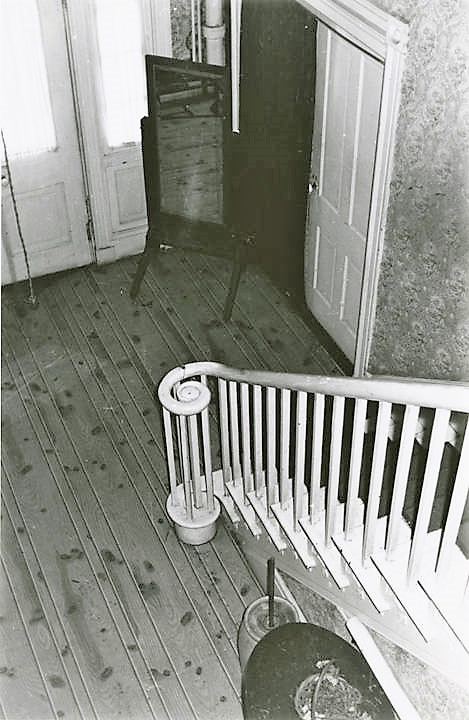 Foot of stair from the landing of the Dancy-Polk House in Decatur, Alabama. built ca. 1829 (Alabama Department of Archives and History)