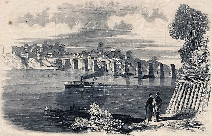 Lithograph of Decatur, Alabama, after the railroad bridge was burned by the 1st Wisconsin Infantry ca. 1862 (Alabama Department of Archives and History)