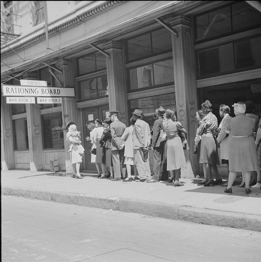 Rationing Board line in New Orleans, LA. 1943 (Library of Congress)