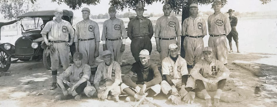 Baseball team of the 46th Infantry regiment at Camp Sheridan in Montgomery, Alabama August 3, 1918 Q85504 (Photographer G. F. Jennings, Alabama Department of Archives and History)