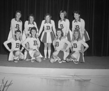 How much have cheerleader costumes changed since the 1950s?