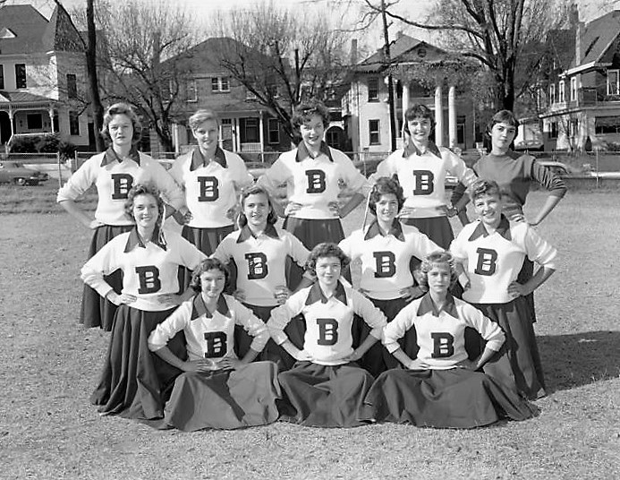 Cheerleaders at Baldwin Junior High School in Montgomery, Alabama Nov. 20, 1958 Q72140 (John E. Scott, ADAH)