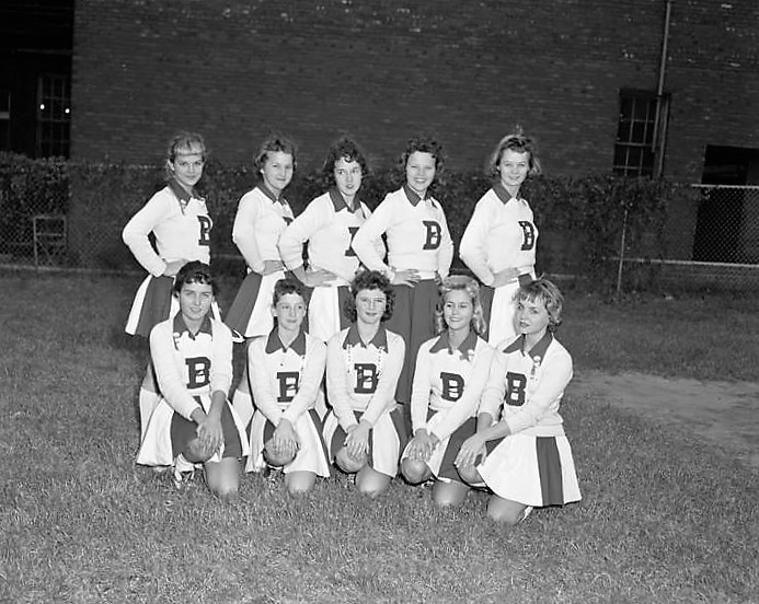 Cheerleaders at Baldwin Junior High School in Montgomery, Alabama November 6, 1959 Q72142