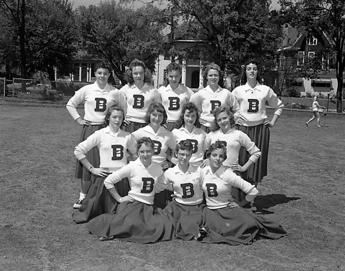 Cheerleaders at Baldwin Junior High School in Montgomery, Alabama. April 16, 1958, Q72137