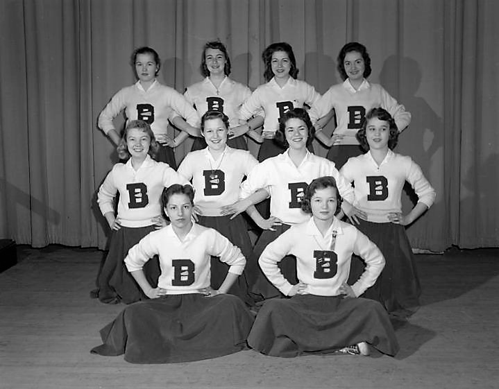Cheerleaders at Baldwin Junior High School in Montgomery, Alabama. March 1957 Q72135
