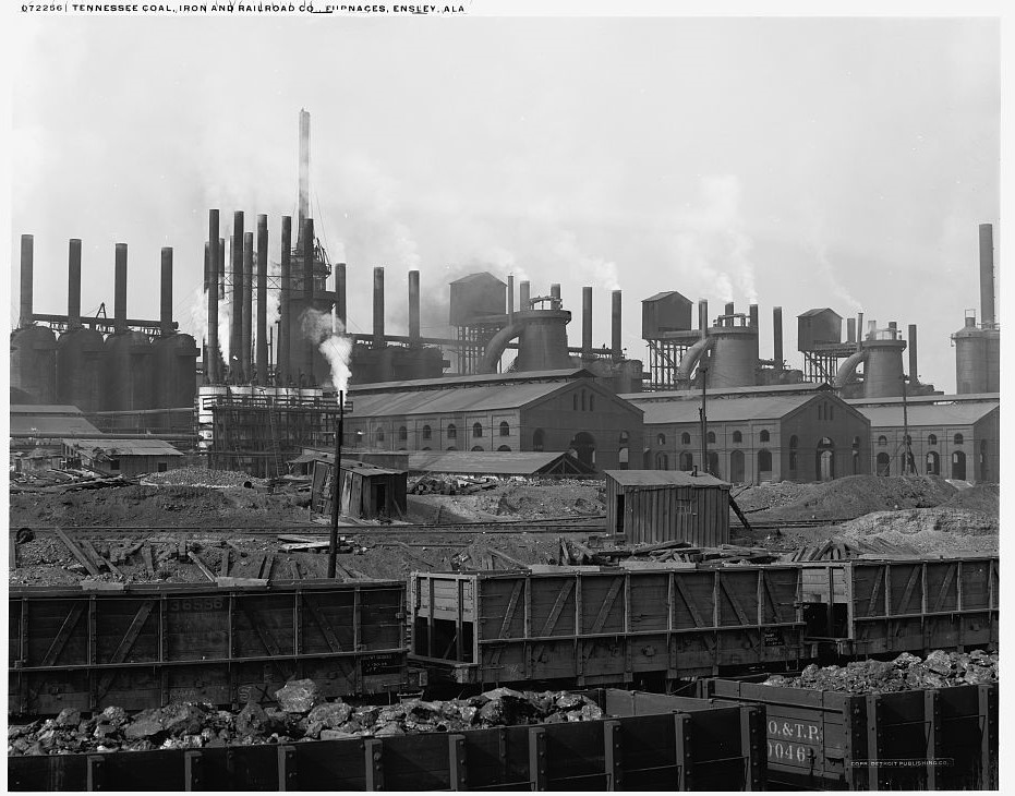 Tennessee Coal, Iron and Railroad Co. [Company] furnaces, Ensley, Ala. 1910 (Detroit Publishing Company, Library of Congress)