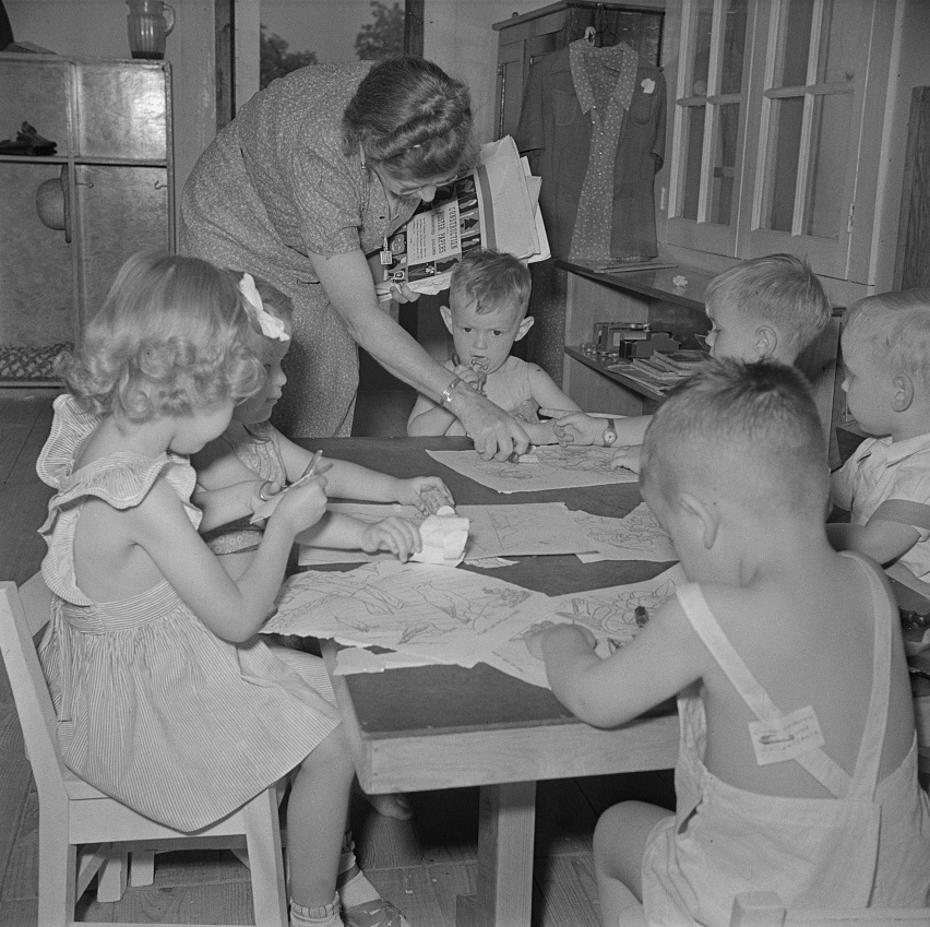 Childersburg, Alabama. WPA (Works Progress Administration) day nursey for defense workers children May 1942 (John Collier, Library of Congress)
