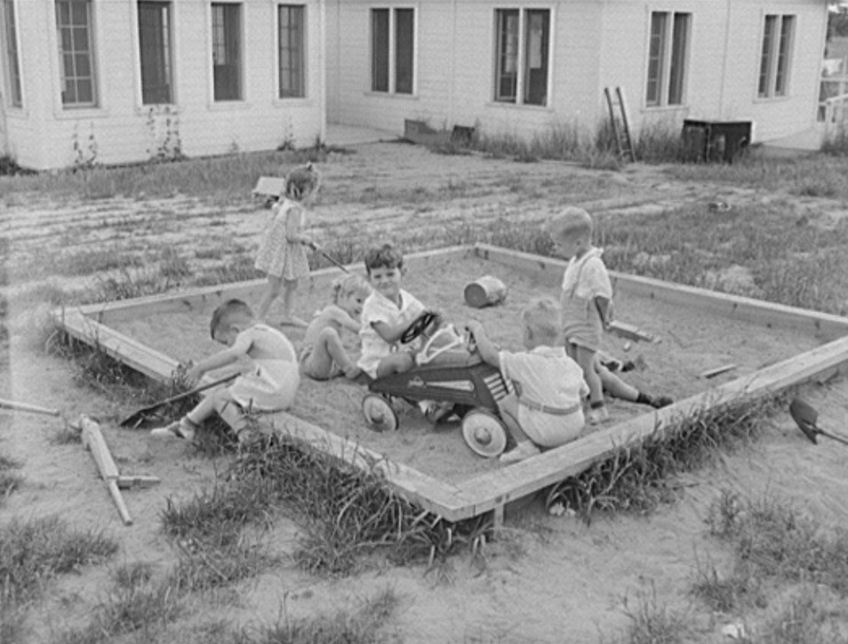 Childersburg, Alabama. WPA sand box day nursey for defense workers children May 1942 (John Collier, Library of Congress)