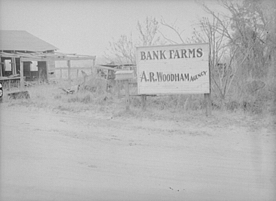 One of many bank farms. Coffee County, Alabama 1939 (by Marion Post Walcott, Library of Congress)