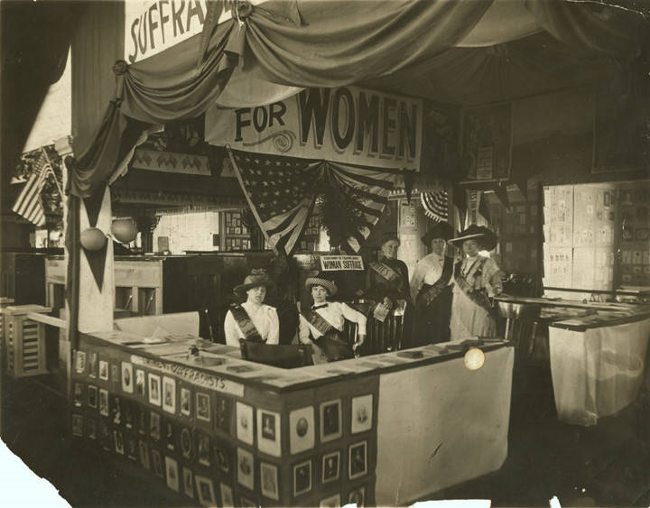 Women's suffrage booth at state fair, Birmingham Pattie Ruffner Jacobs is seated on the left 1914 Q4096