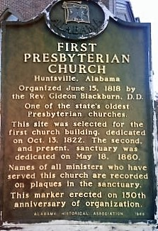 First Presbyterian Church Marker, Madison County, Alabama