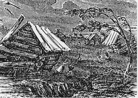 Great earthquake of New Madrid woodcut, (Wikipedia)