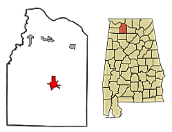 Map of Moulton in Lawrence Co., Alabama