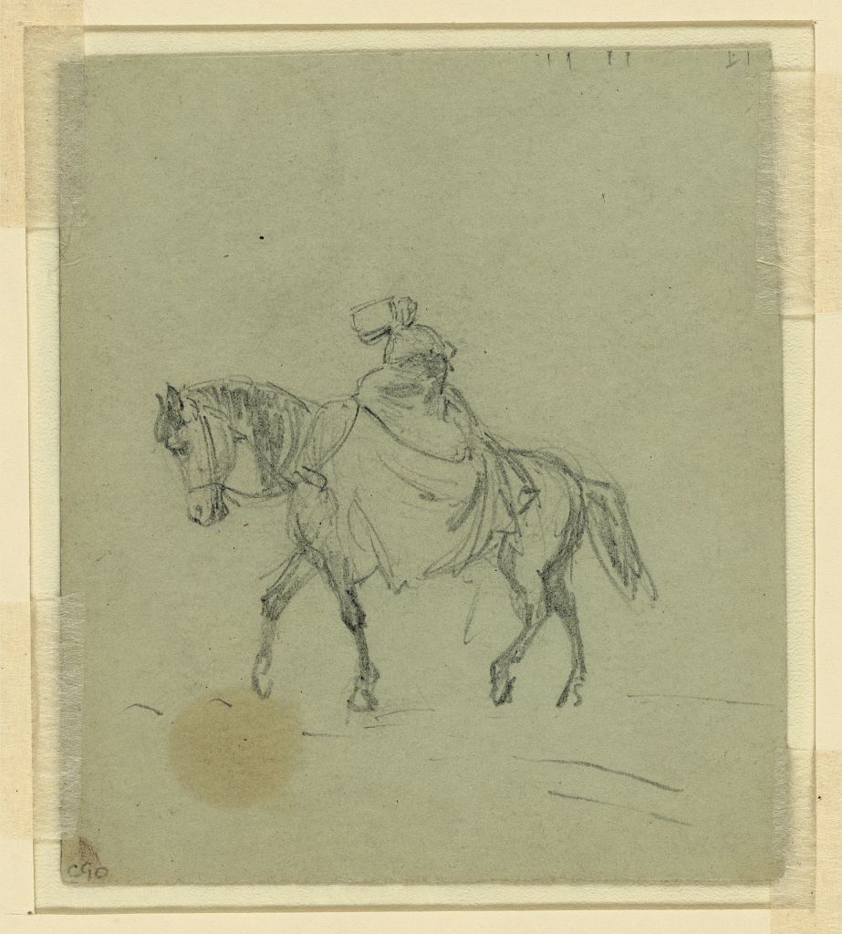 Woman on Horseback artist Alfred Rudolph Waud ca. 1850 (Library of Congress)
