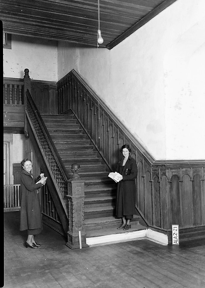 alex-bush-right-stairs-towards-west-in-east-end-of-hall-east-of-main-hallway-old-southern-university-university-avenue-college-street-greensboro-hal