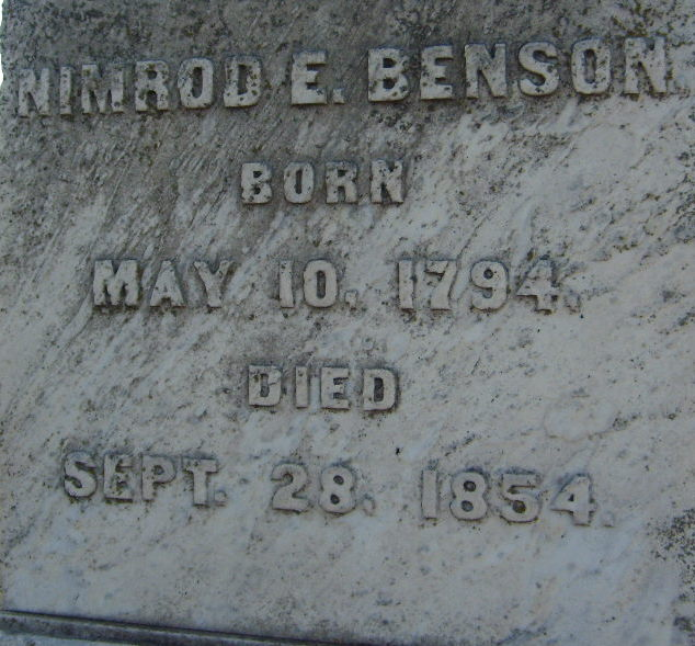 BIOGRAPHY: Nimrod Earle Benson, (1794-1854)