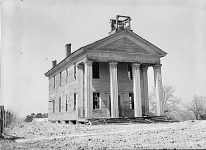 Photograph of first school building in Pike County, Alabama
