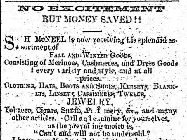 Patron – Ads provide family research clues from Autauga County, October 5, 1853