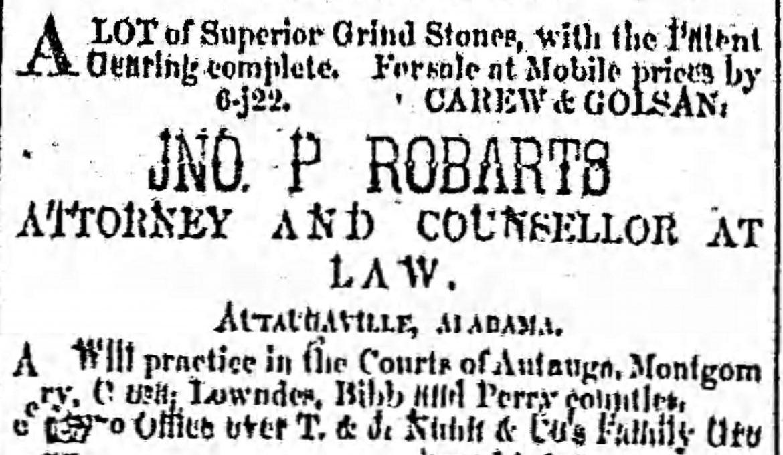PATRON – October 5, 1853 -Administrators notice for Clark, DeJarnette, Caver, Clark and Sims of Autauga County, Alabama