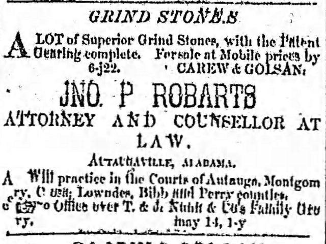 Patron- October 5, 1853 -Administrators notice for Clark, DeJarnette, Caver, Clark and Sims of Autauga County, Alabama