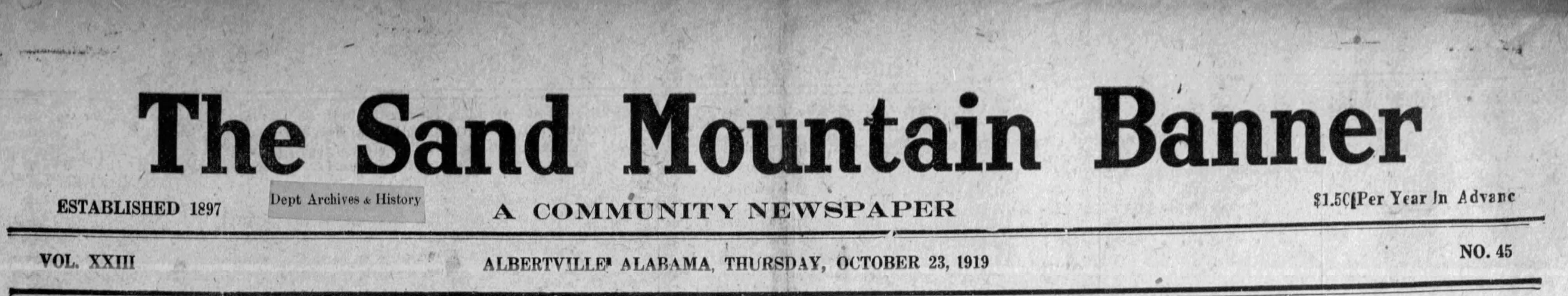 Patron - Is your Albertville, Alabama ancestor mentioned in this newspaper from October 23, 1919