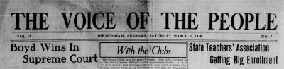 Personals transcribed from The Voice of the People, Birmingham, Alabama, March 20, 1920
