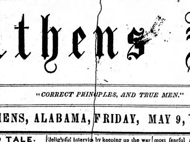 PATRON – May 9, 1856 – Sale of Indian Land, marriage, stabbing and probate court in Athens, Limestone County, Alabama.
