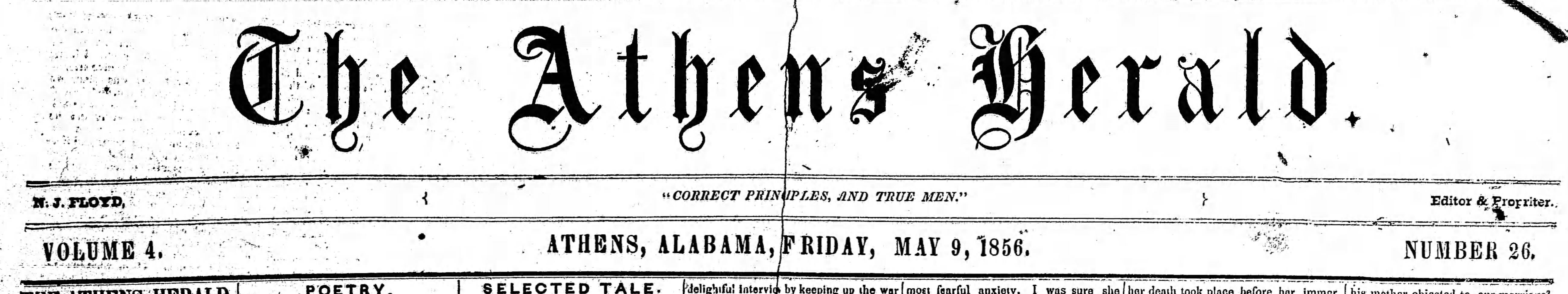 PATRON - May 9, 1856 – Sale of Indian Land, marriage, stabbing and probate court in Athens, Limestone County, Alabama.