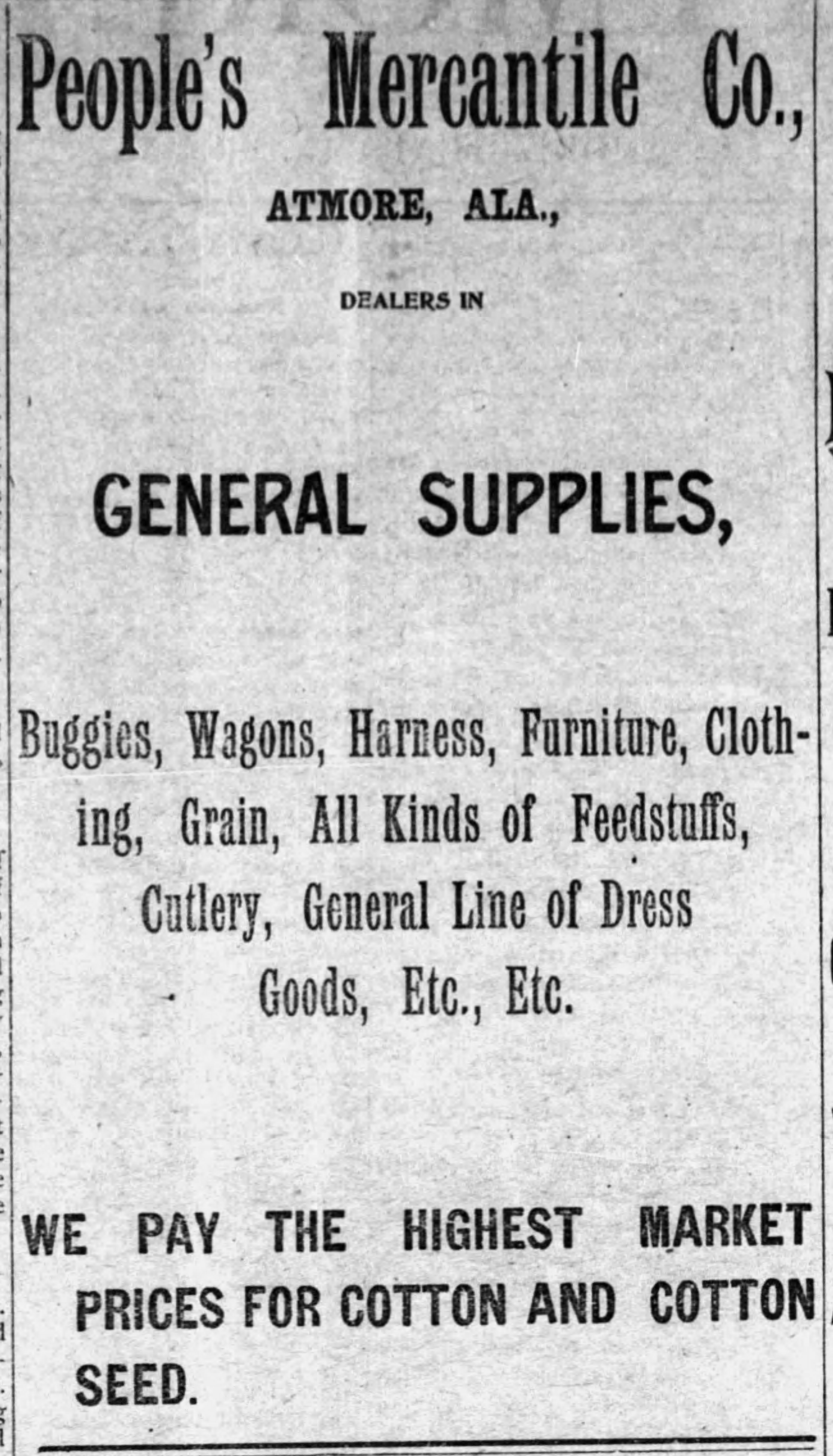 PATRON – Trusted businessmen in Atmore on September 18, 1903 according to The Atmore Record, Alabama