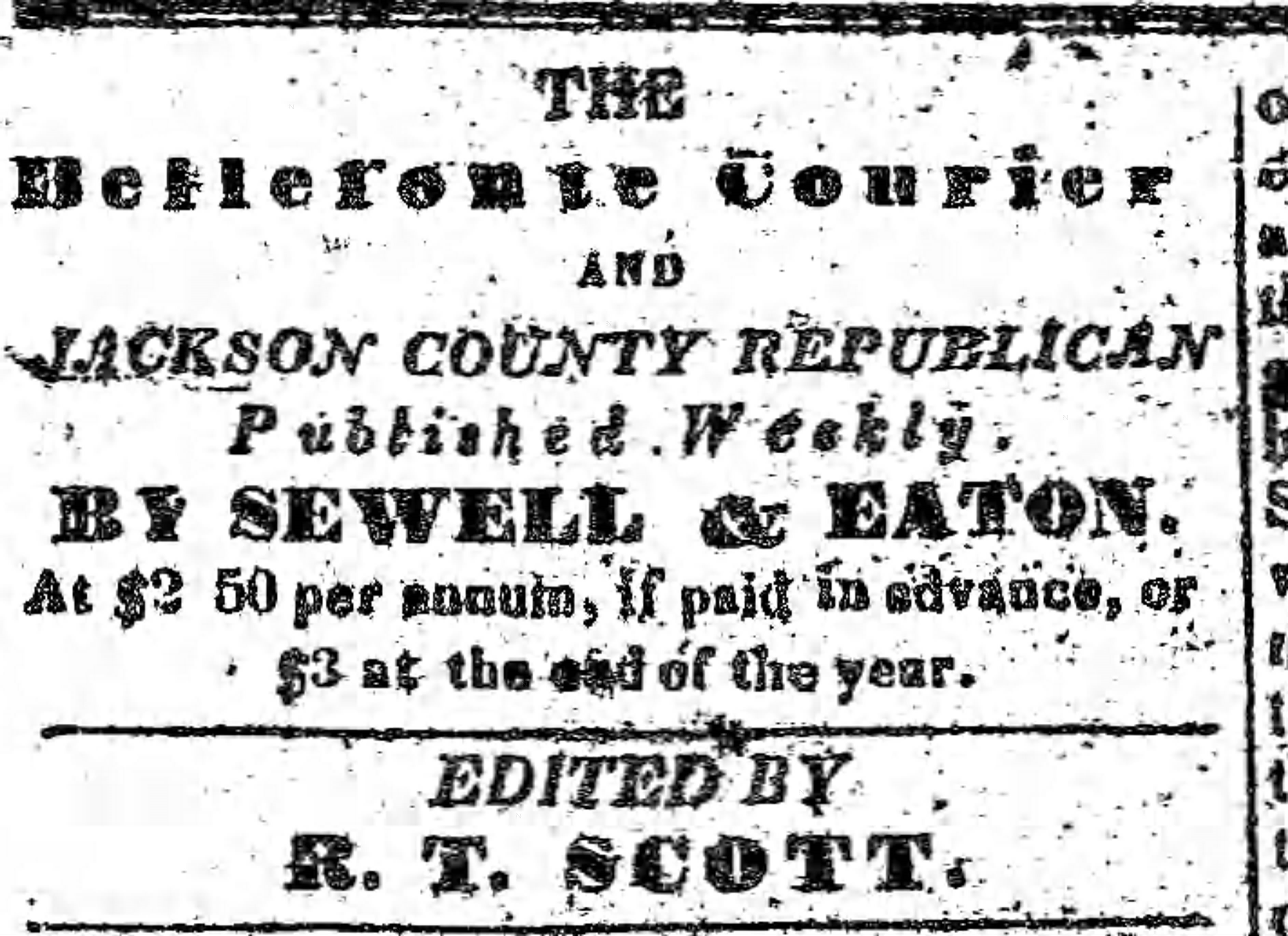 Patron - Bellefonte, Jackson County, Alabama – Sheriff Notices for land sales and sale of slave in 1839