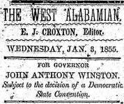 Patron – Jan. 3, 1855 – Pickens county – List of letters at post office & Candidates for political office
