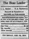 Patron – Health was bad in surrounding communities of Boaz in 1915