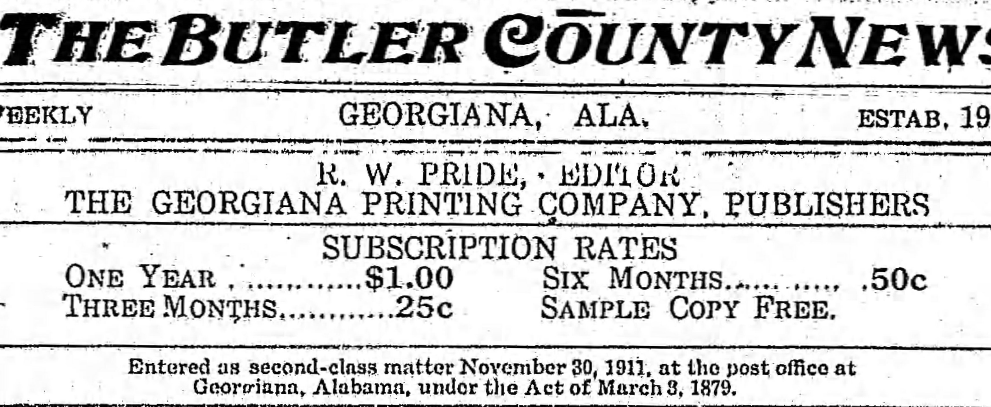 Patron – The Butler County News – 1914 includes personal news from communities of Starlington and East Garland Alabama.