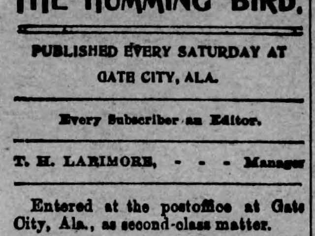 Patron – Gate City, Alabama – December 1, 1900 – Water Co. working to get water to Woodlawn, Read and Martin wed.