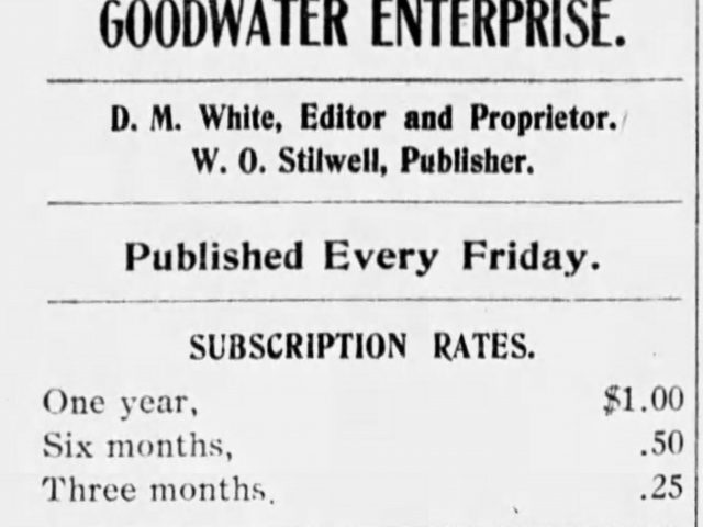PATRON –  In Goodwater on October 13, 1905, news of Walden-Reeves wedding, a death, and court notice