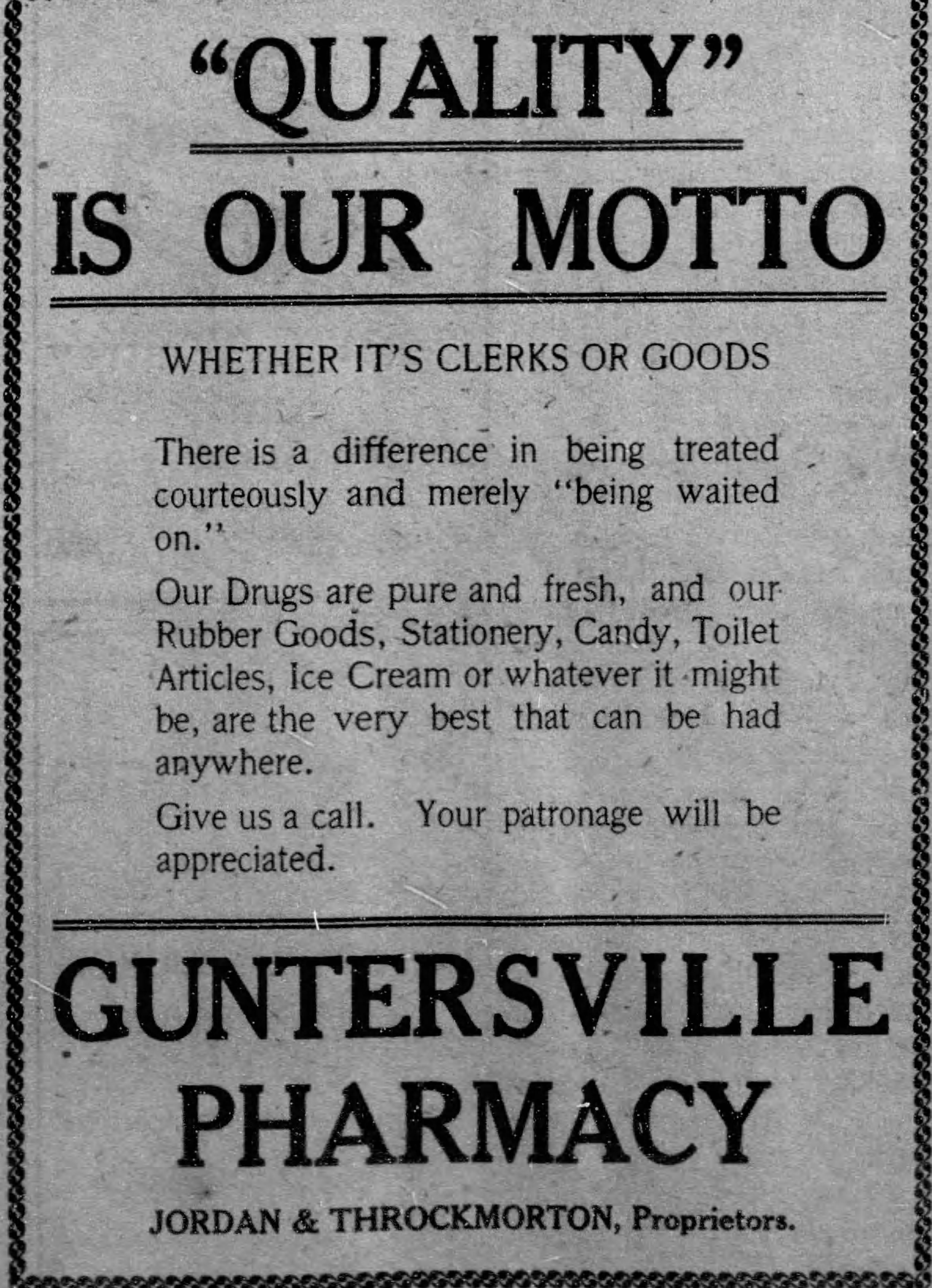 PATRON – Black Bear in Dothan, banks and five cent meat news in Guntersville June 9, 1914