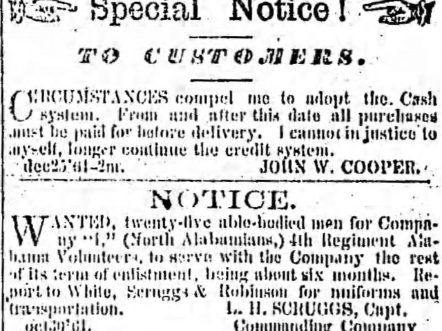 PATRON – News of Sale of Slaves, deaths and Sheriffs sale in Huntsville, Feb. 19, 1862