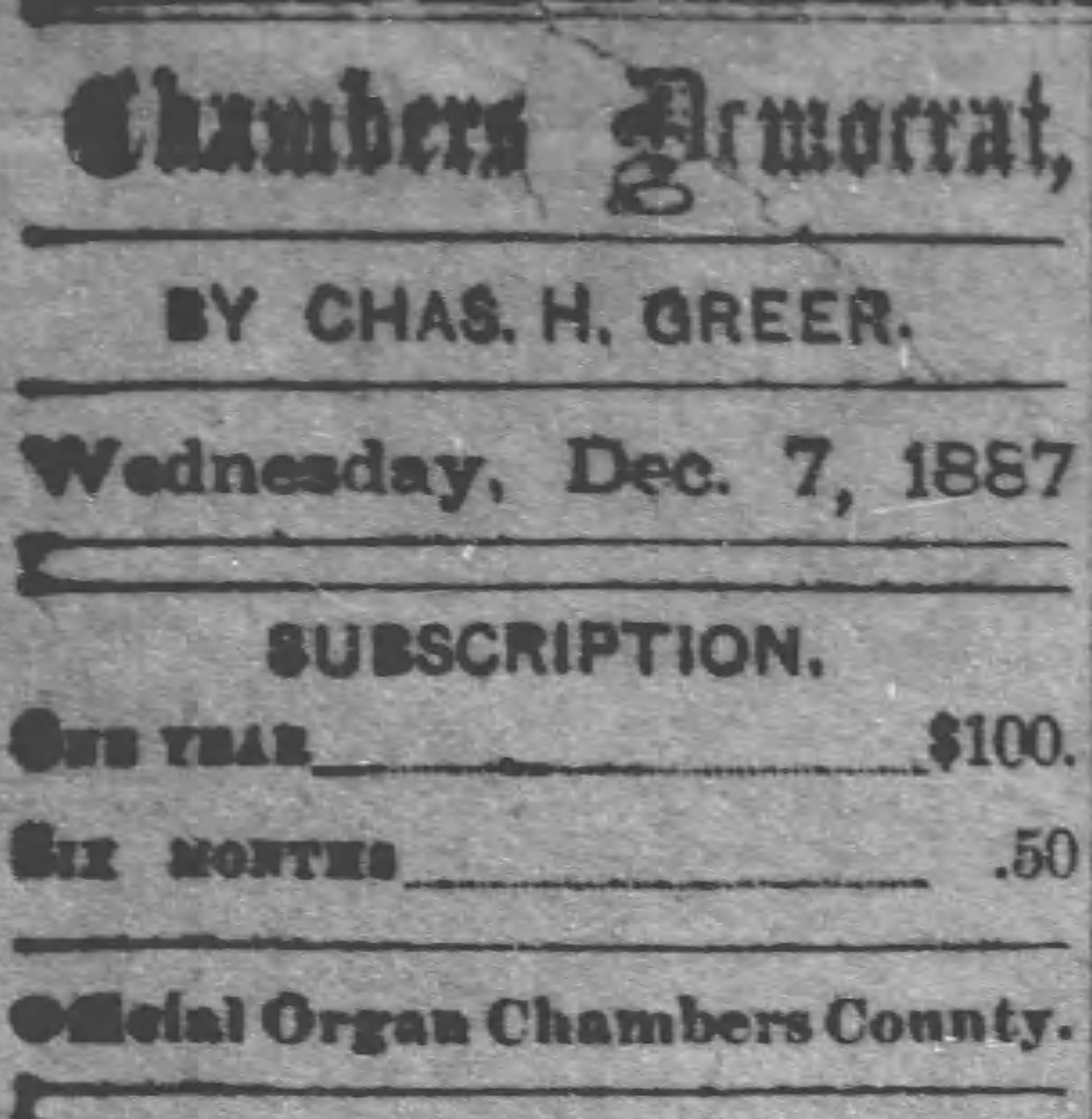PATRON – Many citizens of LaFayette, Chambers County, Alabama in 1887 are named in these newspaper excerpts