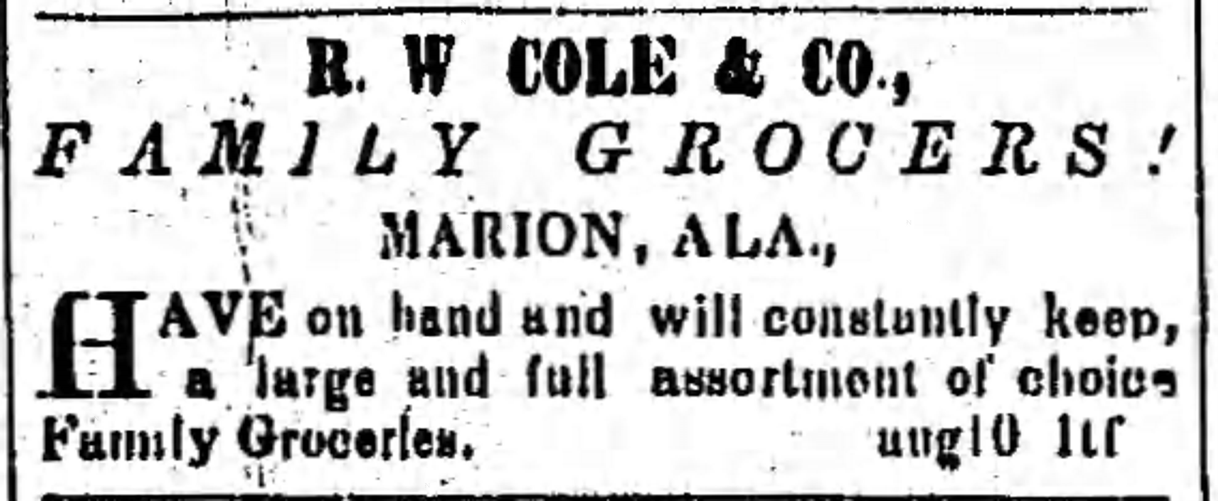 PATRON –  News about local people and new businesses in Marion, Perry Co., Ala. in 1865