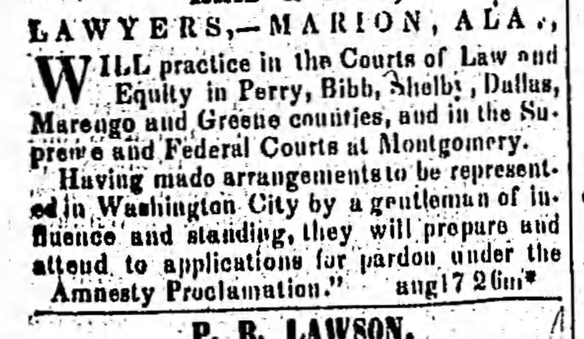 PATRON – News from Uniontown, Perry County, Ala. Dec. 21st, 1865 & Confederacy news