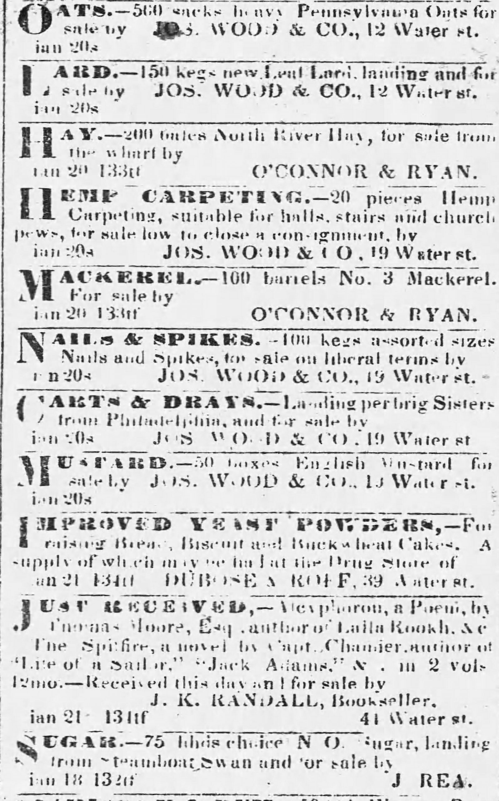 PATRON – Legal notices – names Hawkins, Trott, Hart, Anderson, Post, Kibby and more from 1839