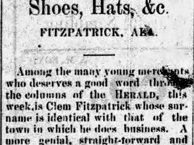 PATRON + Fitzpatrick, Alabama was a transformed town in 1885