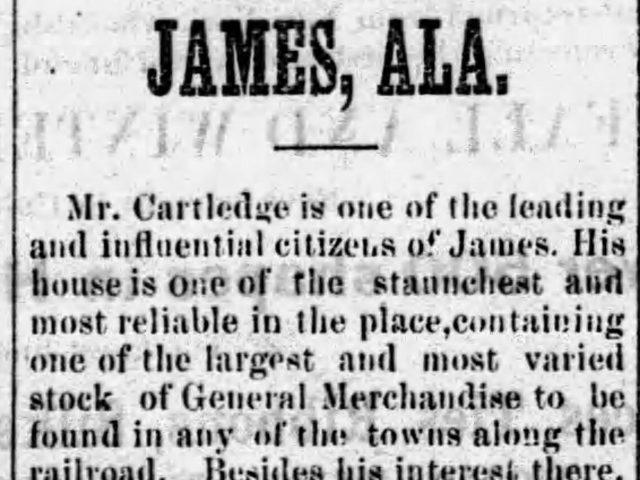 PATRON + James, Alabama was once a prosperous railroad town