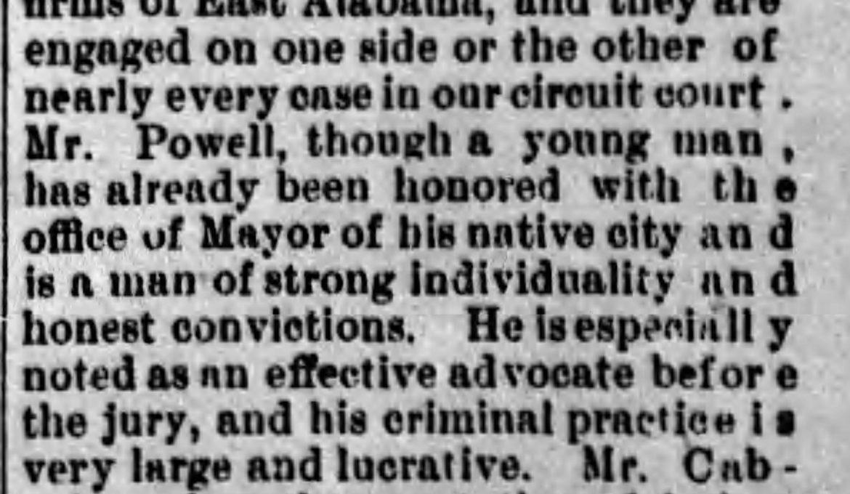 PATRON – Union Springs,  Alabama had businessmen named Hardie, Gay, Davis, Rosenstihl, and others