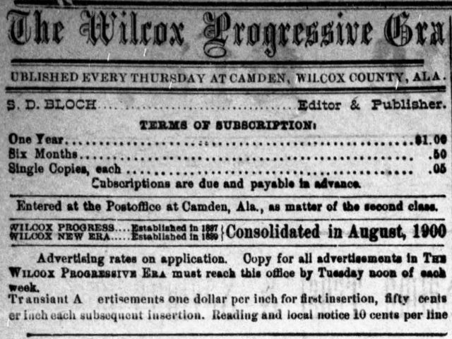 PATRON – Local news from Wilcox County on June 2, 1910, included many illness & marriage licenses