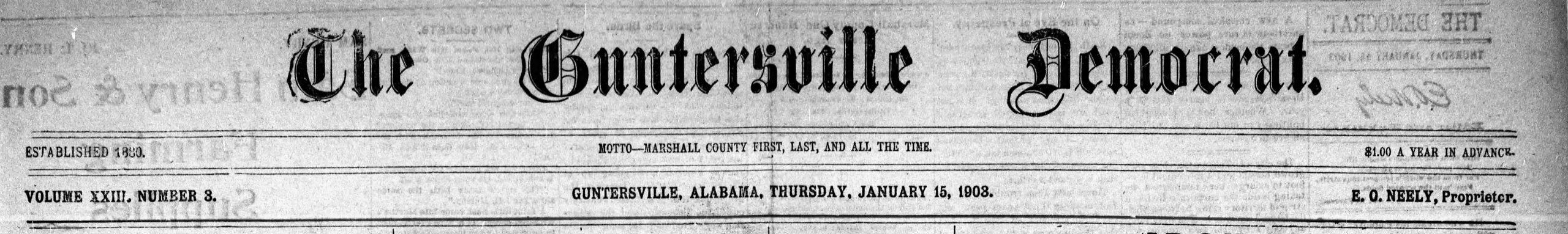PATRON - Frozen mink captured, 61 applied for Teacher's exam and visitors in Guntersville local news 1903